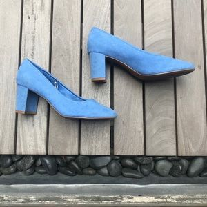 H&M   Blue Faux Suede Chunky Heels